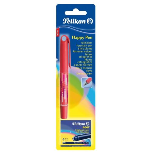 Stilou Pelikan Happy Pen, 6 patroane incluse, blister