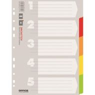 Separatoare A4 din carton OFFICE Products, 5+1 taste color , hartie lucioasa 170gr