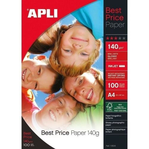 Hartie foto APLI Best Price, A4, 140 gr, lucios, 100 coli/top