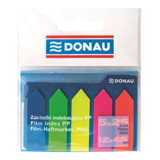 Index adeziv din plastic DONAU, cu sageata, 45 x 12 mm, set 5 x 25 file color
