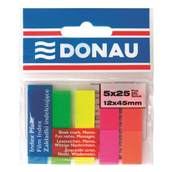 Index adeziv din plastic DONAU, 45 x 12 mm, set 5 x 25 file color