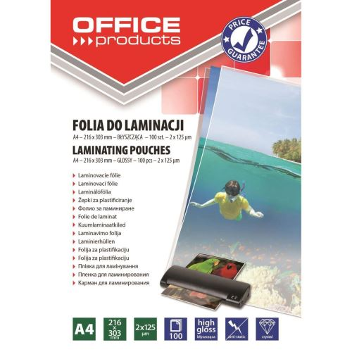 Folie laminare OFFICE Products, A4, 2 x 125 microni, 100 buc/top