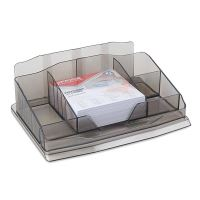 Organizator de birou OFFICE Products, 6 compartimente, cub hartie alb inclus, fumuriu