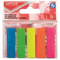 Index adeziv din plastic OFFICE Products, 45 x 12 mm, set 5 x 25 file color