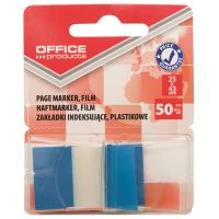 Page marker din plastic cu dispenser OFFICE Products, 25 X 43 mm, 50 file, albastru