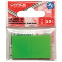 Page marker din plastic OFFICE Products, 25 X 43 mm, 50 file, verde neon