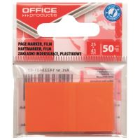 Page marker din plastic OFFICE Products, 25 X 43 mm, 50 file, portocaliu neon