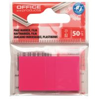 Page marker din plastic OFFICE Products, 25 X 43 mm, 50 file, roz neon
