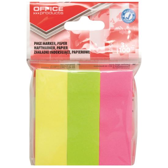 Page marker din hartie OFFICE Products, 26 x 76 mm, set 3 x 100 file pastel