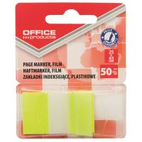 Page marker din plastic cu dispenser OFFICE Products, 25 X 43 mm, 50 file, galben