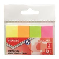 Page marker din hartie OFFICE Products, 20 x 50 mm, set 4 x 40 file neon