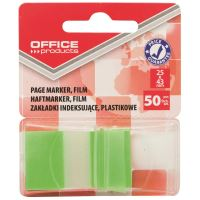 Page marker din plastic cu dispenser OFFICE Products, 25 X 43 mm, 50 file, verde deschis