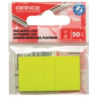 Page marker din plastic OFFICE Products, 25 X 43 mm, 50 file, galben neon