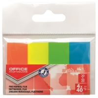 Page marker din plastic OFFICE Products, 20 x 50 mm, set 4 x 40 file color