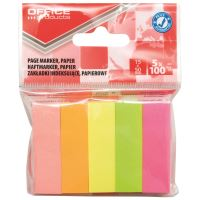 Page marker din hartie OFFICE Products, 15 x 50 mm, set 5 x 100 file pastel