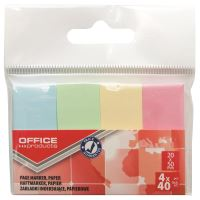 Page marker din hartie OFFICE Products, 20 x 50 mm, set 4 x 40 file pastel