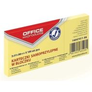 Notite adezive OFFICE Products,  38 x 51 mm, galben pal,  100 file