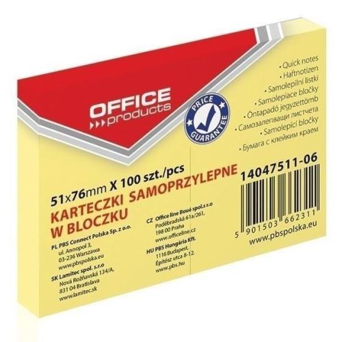 Notite adezive OFFICE Products,  51 x 76 mm, galben pal,  100 file