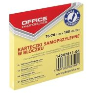 Notite adezive OFFICE Products,  76 x 76 mm, galben pal,  100 file